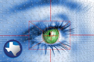 an iris-scanning security system - with Texas icon