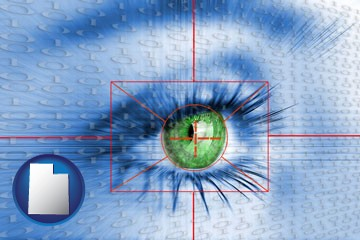 an iris-scanning security system - with Utah icon