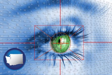 an iris-scanning security system - with Washington icon