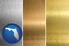 florida map icon and sheet metal surface textures