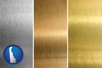 sheet metal surface textures - with Delaware icon