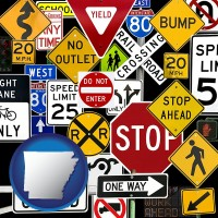 arkansas map icon and road signs