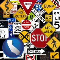 california map icon and road signs