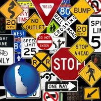 delaware map icon and road signs