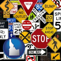 idaho map icon and road signs