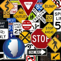 illinois map icon and road signs