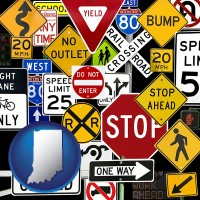 indiana map icon and road signs