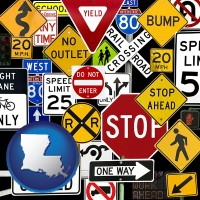 louisiana map icon and road signs