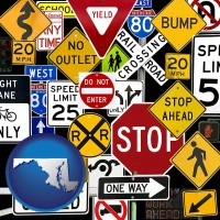 maryland map icon and road signs