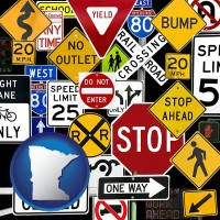 minnesota map icon and road signs