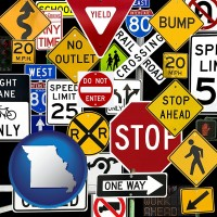 missouri map icon and road signs