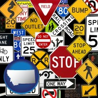 montana map icon and road signs