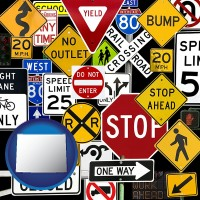 wyoming map icon and road signs