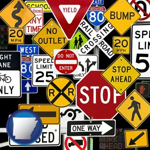 road signs - with Arkansas icon