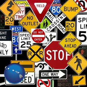 road signs - with Hawaii icon