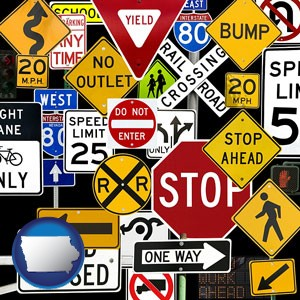 road signs - with Iowa icon