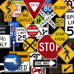 road signs - with Massachusetts icon