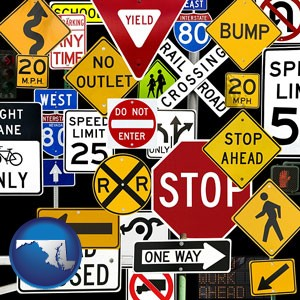 road signs - with Maryland icon