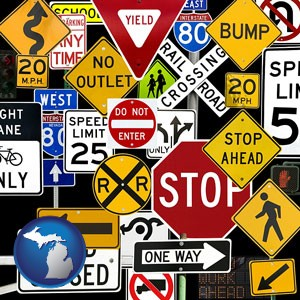road signs - with Michigan icon