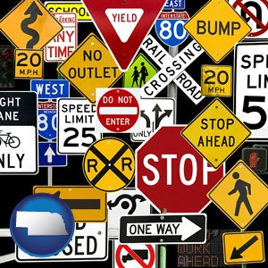 road signs - with Nebraska icon
