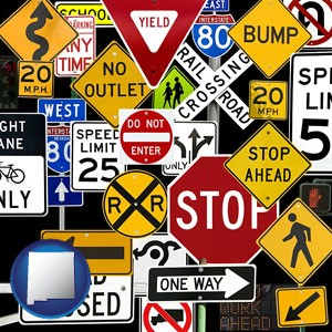 road signs - with New Mexico icon