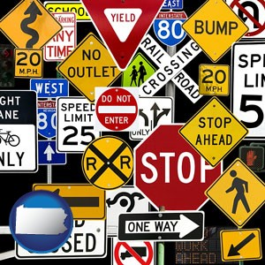 road signs - with Pennsylvania icon