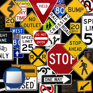 road signs - with Wyoming icon