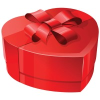 a red, heart-shaped box