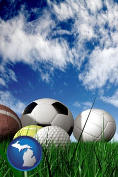a football, a golf ball, a soccer ball, a tennis ball, and a volleyball - with Michigan icon