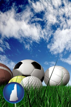 a football, a golf ball, a soccer ball, a tennis ball, and a volleyball - with New Hampshire icon
