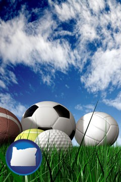 a football, a golf ball, a soccer ball, a tennis ball, and a volleyball - with Oregon icon