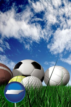 a football, a golf ball, a soccer ball, a tennis ball, and a volleyball - with Tennessee icon