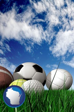 a football, a golf ball, a soccer ball, a tennis ball, and a volleyball - with Wisconsin icon