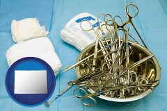 colorado map icon and surgical instruments and bandages
