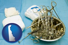 delaware map icon and surgical instruments and bandages