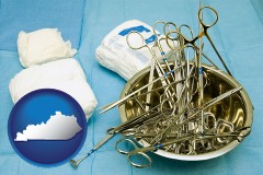 kentucky map icon and surgical instruments and bandages