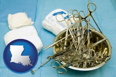 louisiana map icon and surgical instruments and bandages