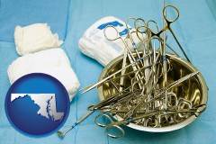 maryland map icon and surgical instruments and bandages