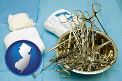 new-jersey map icon and surgical instruments and bandages