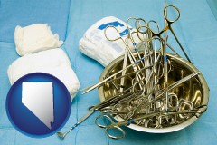 nevada map icon and surgical instruments and bandages