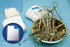 utah map icon and surgical instruments and bandages
