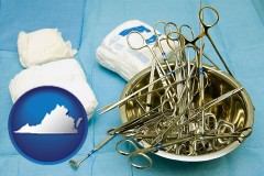 virginia map icon and surgical instruments and bandages