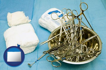 surgical instruments and bandages - with Colorado icon