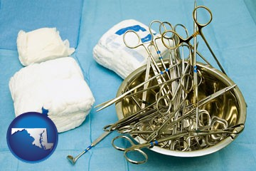 surgical instruments and bandages - with Maryland icon