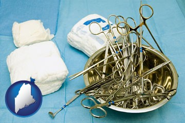 surgical instruments and bandages - with Maine icon
