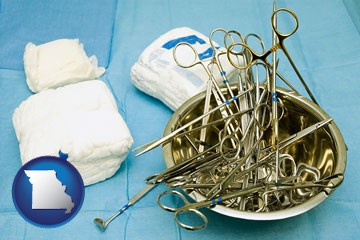 surgical instruments and bandages - with Missouri icon
