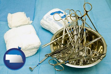 surgical instruments and bandages - with Nebraska icon