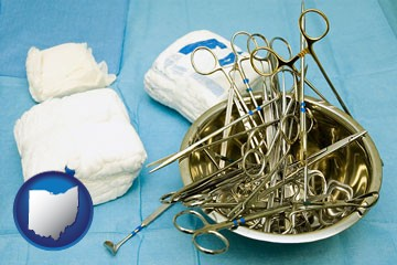 surgical instruments and bandages - with Ohio icon