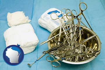 surgical instruments and bandages - with Wisconsin icon