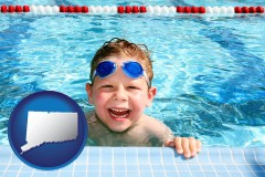 connecticut a boy in a swimming pool